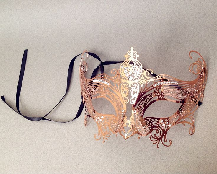 Copper champagne rose gold masquerade mask Gossip Girl Serena Mask costume party (25.00 USD) by Crafty4Party