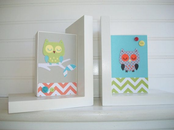 Bookends for Children. Owls . Modern . Chevron . by RessieLillian.Etsy.com