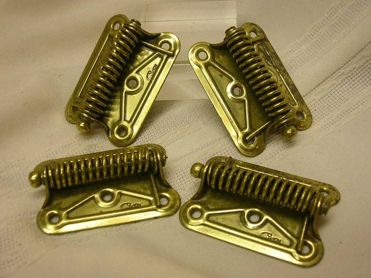 "4 Vintage Champion Spring Loaded Hinges 1 5/8"" X 2 1/4"" DIY Hardware #Champion"