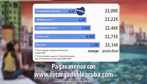 ¿Cuánto pagas por tu recarga a Cuba de 20CUC? ¡Descubre con quién pagas menos! http://www.elcomparadorderecargasacuba.com #Cuba   #Cubacel   #Etecsa