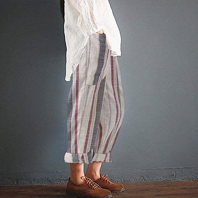 Haute Coton Rayé Vintage Longs Pantalons Femmes Lâche taille qOwT4Sa