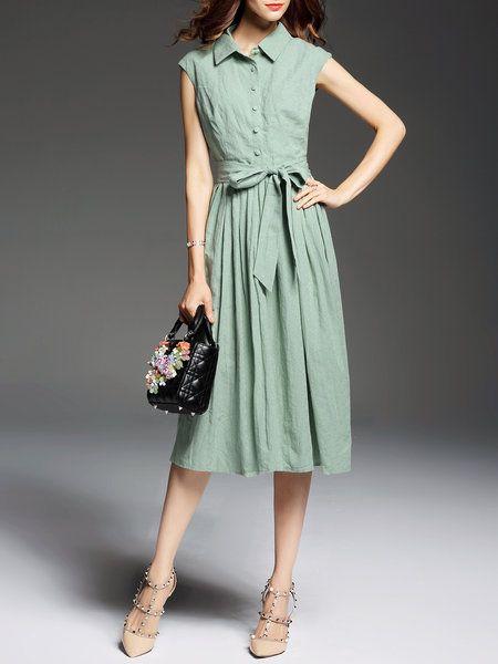 Shop Midi Dresses - Green Short Sleeve Linen A-line Shirt Dress online. Discover…