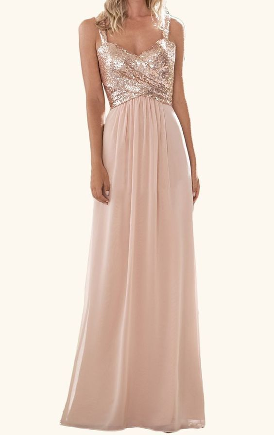 MACloth Cowl Back Sequin Chiffon Long Bridesmaid Dress Rose Gold Formal Gown