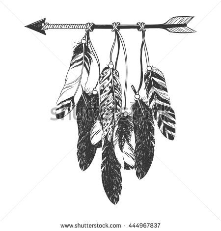 Dreamcatcher with arrow and feathers. Native American Indian talisman. Vector hand drawn hipster illustration isolated on white background. Boho design, tattoo art, coloring book for adults.