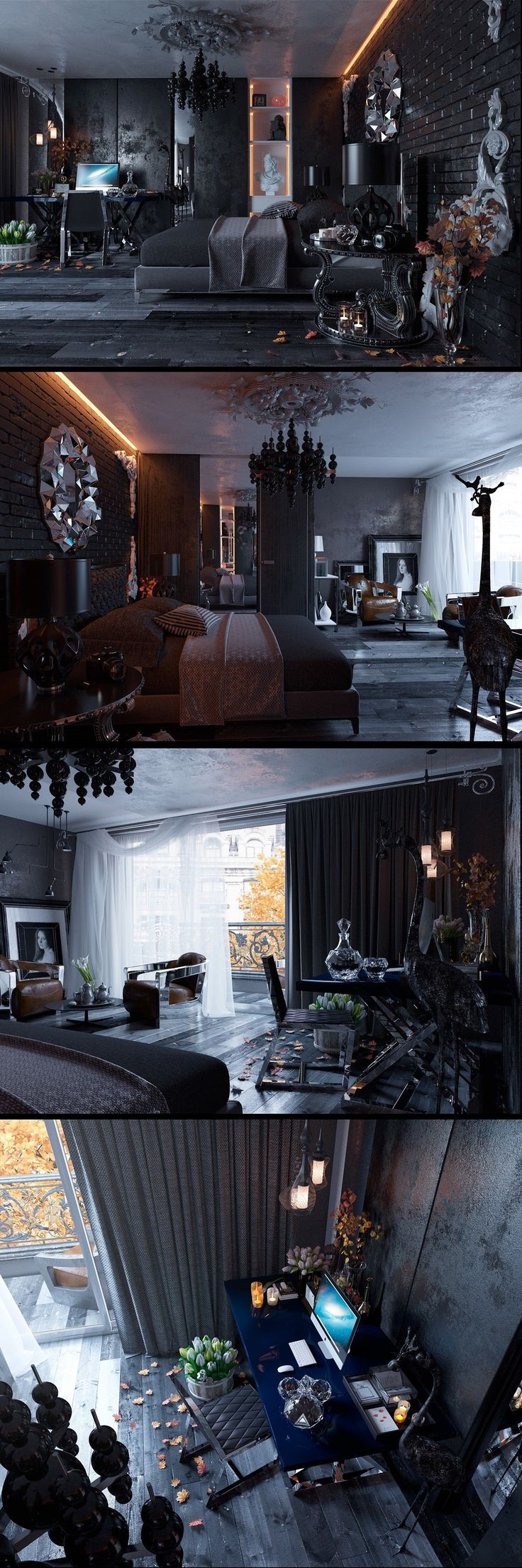 I love how white sheers are used in an otherwise dark and moody room. | Marvelous dark bedroom design.
