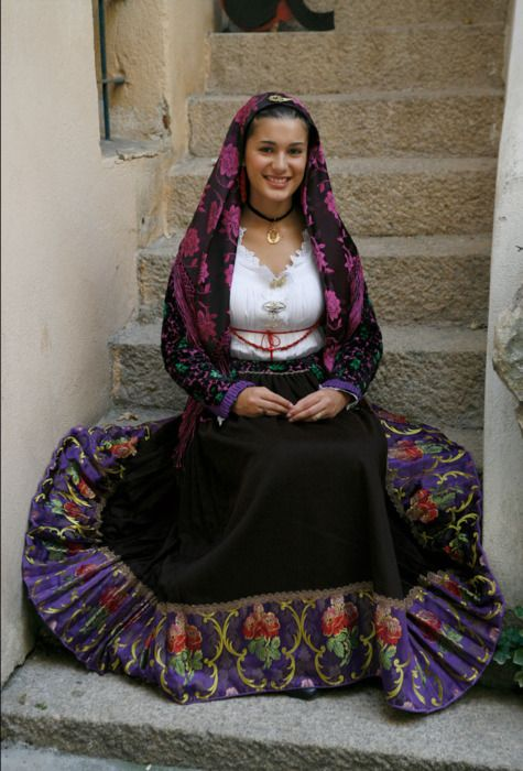 Italian woman in traditional costume from the island Sardinia - Sardigna