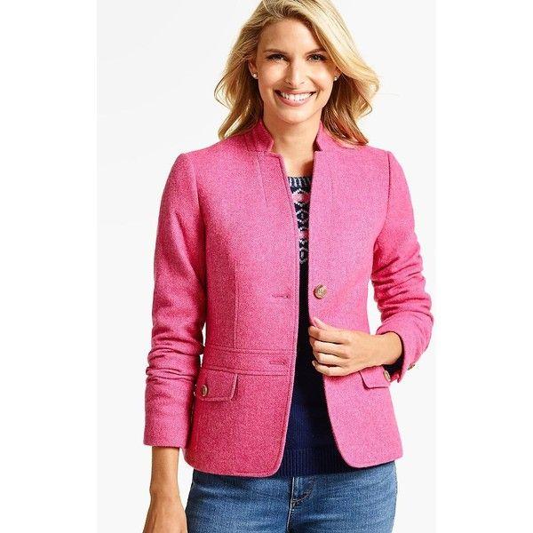 Talbots Women's Shetland Bold Twill Blazer ($170) ❤ liked on Polyvore featuring outerwear, jackets, blazers, pink, plus size, plus size blazer jacket, petite blazer, long blazer jacket, women's plus size jackets and plus size pink blazer