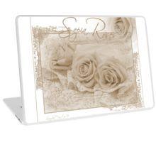 Laptop Skin.  #roses #threesepiaroses #sepiarosesandlace #rose #beadedlace #threesepiaroses #roseart #sepiaroseart  #romanticroses #feminineroses #floralhomedecor #sandrafoster