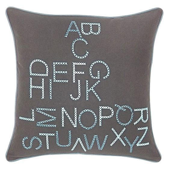 Letter-fun and quality stitching make the cottony Alpha Embroidered Cushion from DG37 a stylish addition to your space.
