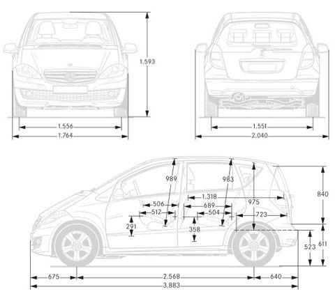 dimensioni Mercedes Classe A | Prezzi e dimensioni Auto | Pinterest