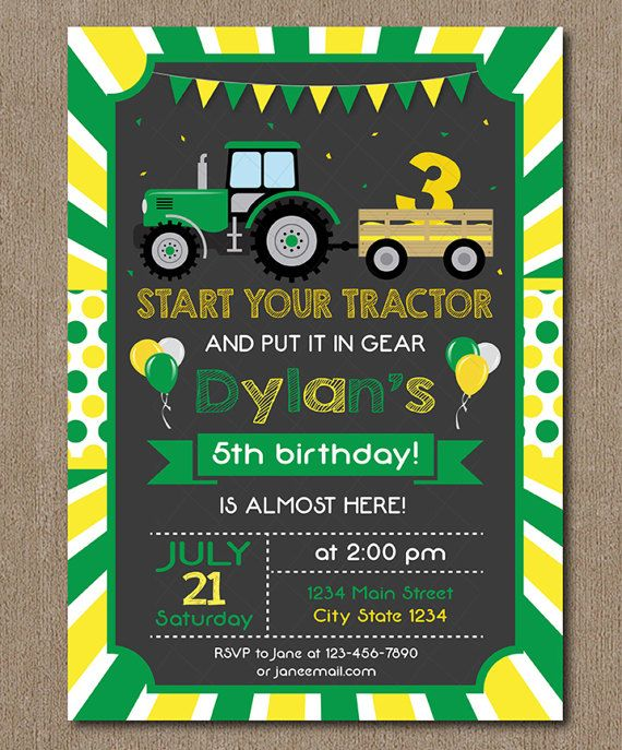 Tractor Birthday Invitation Tractor Invite by PixeleenDesigns