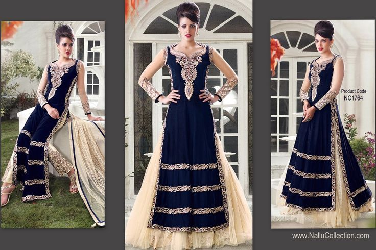 Navy Blue with cream embroidery velvet designs, Floor length Long-Anarkali Suits available online from Nallu Collection  http://www.nallucollection.com/lehenga/zoya-navy-blue-cream-designing-velvet-net-floor-length-anarkali-with-net-dupatta.html