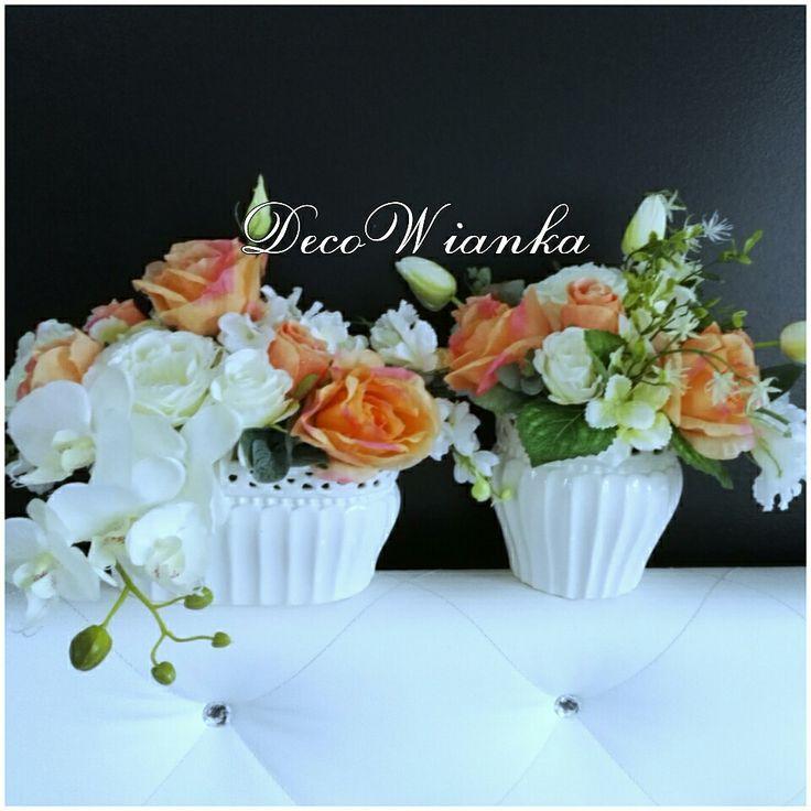 Kompozycja kwiatowa,sztuczne kwiaty,stroik,dekoracja