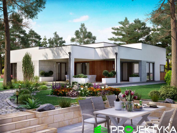 ✨Nowoczesny projekt domu parterowego o geometrycznej bryle budynku✨ Ka49 http://bit.ly/projekty-parterowe ▪️powierzchnia użytkowa ok. 150 m2 ▪️3 sypialnie, 2 garderoby ▪️wjazd od południa