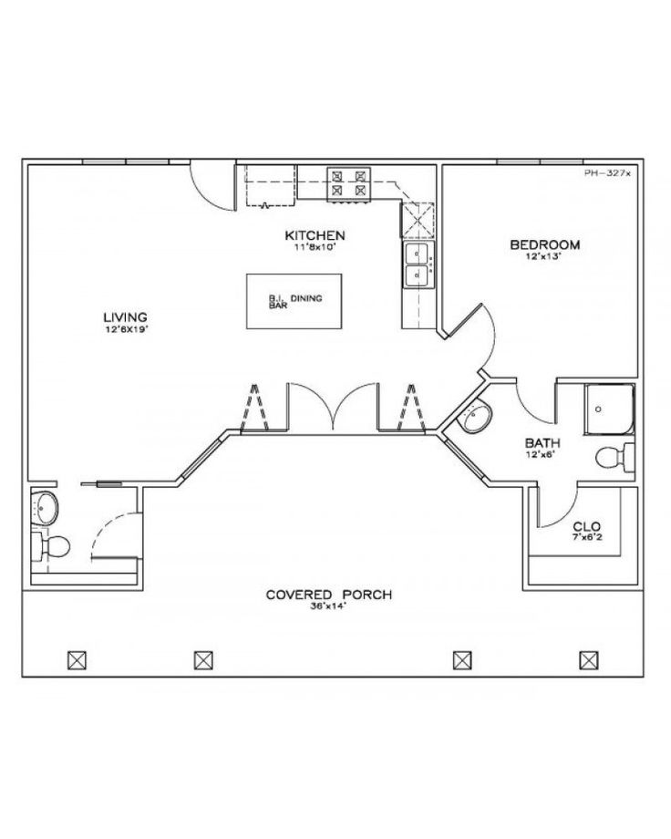 AmazingPlans House Plan #PH-327D - Beach - Pilings, Cabin - one bedroom house plans