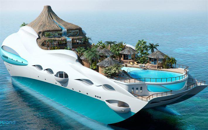 Scarica sfondi Futura navi, yacht di lusso, tropical island yacht, yacht sea 3d