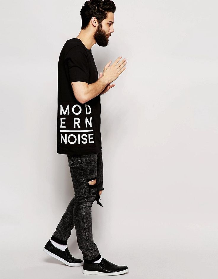image 4 of asos longline t shirt with typographic text patches - Ideas For T Shirt Designs