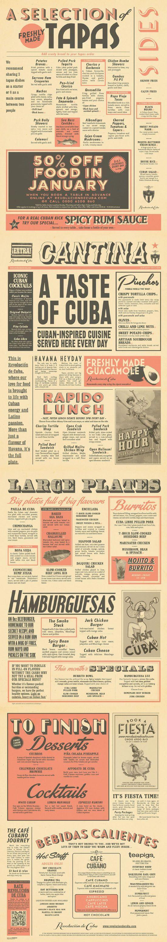 Food infographic  Cuban Cantina Food Menu Graphic Design for Revolucion de Cuba by