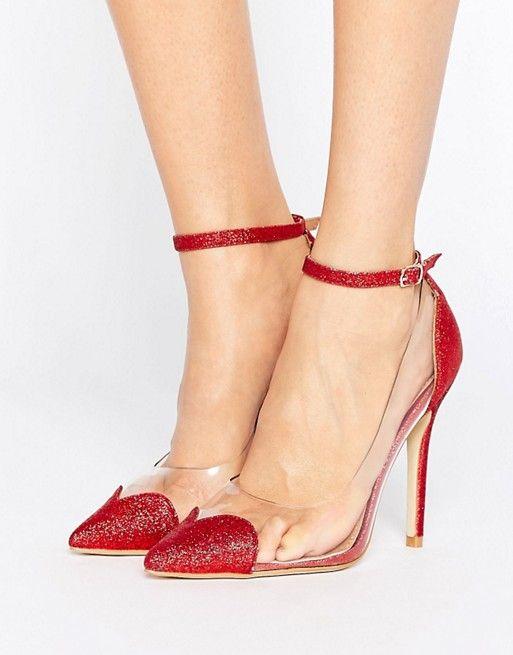 Public Desire Malia Heart Clear Red Glitter Court Shoes