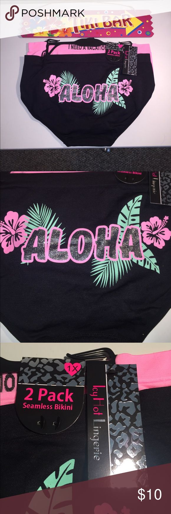 NEW 1X Super Cute Aloha Seamless Bikini 2 Pack NEW 1X Super Cute Aloha & I Need A Vacation 🌴Seamless Bikini Underwear 2 Pack Icy Hot Lingerie 💋 Intimates & Sleepwear Panties