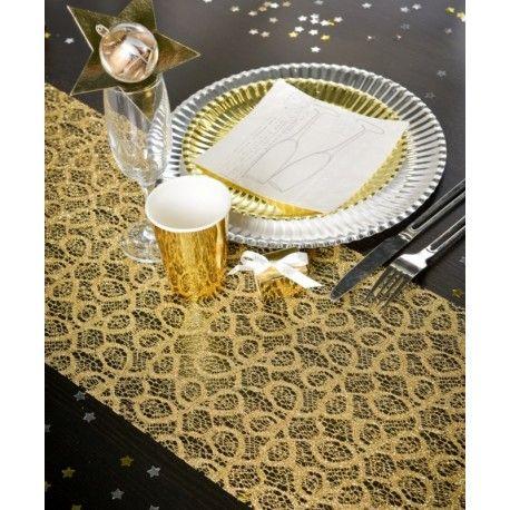 Chemin de table dentelle métallique or 5 M