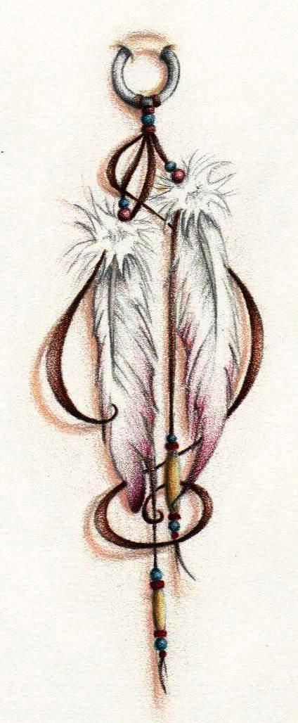 Feathers Tattoo Colored by wayfaring-artist.deviantart.com on @deviantART