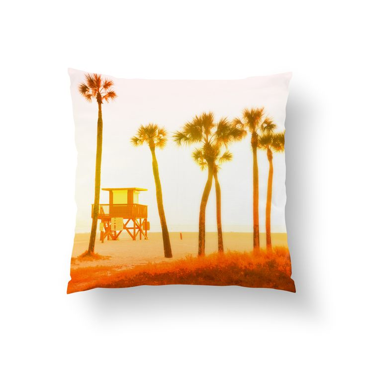 "The perfect ""Endless Summer"" accent for your beach surf home furnishings, this decorative square throw pillow cover features beach sunset landscape, full of tropical palm trees and lifeguard tower! Available in several different sizes to choose from, this coastal bohemian chic accent makes for a nice addition to the decor of any surfer room style setting! *Available in 14x14, 16x16, 18x18, 20x20 and 26x26 inches"