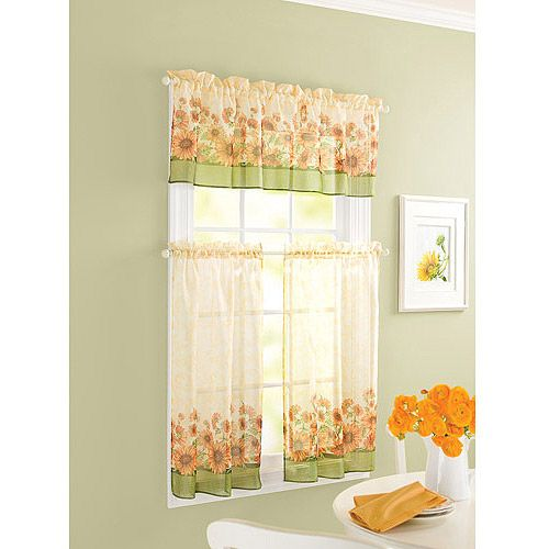 Green Kitchen Curtain Ideas: Sunflower Theme Kitchen Curtains Windows Walmart