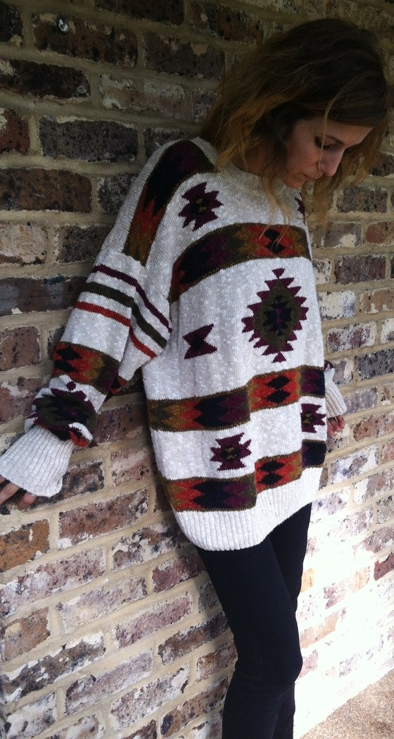COZY Linen/Cotton TRIBAL Ski Lodge Sweater