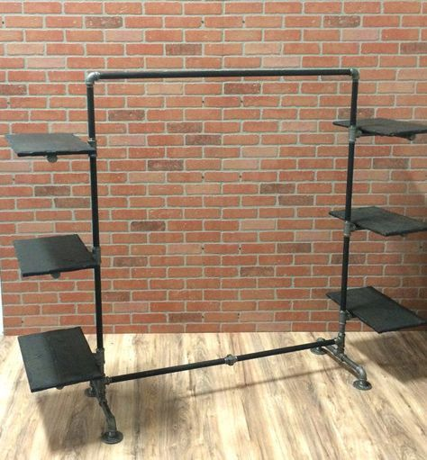Clothing Rack Industrial Pipe With Wood Shelving Garment
