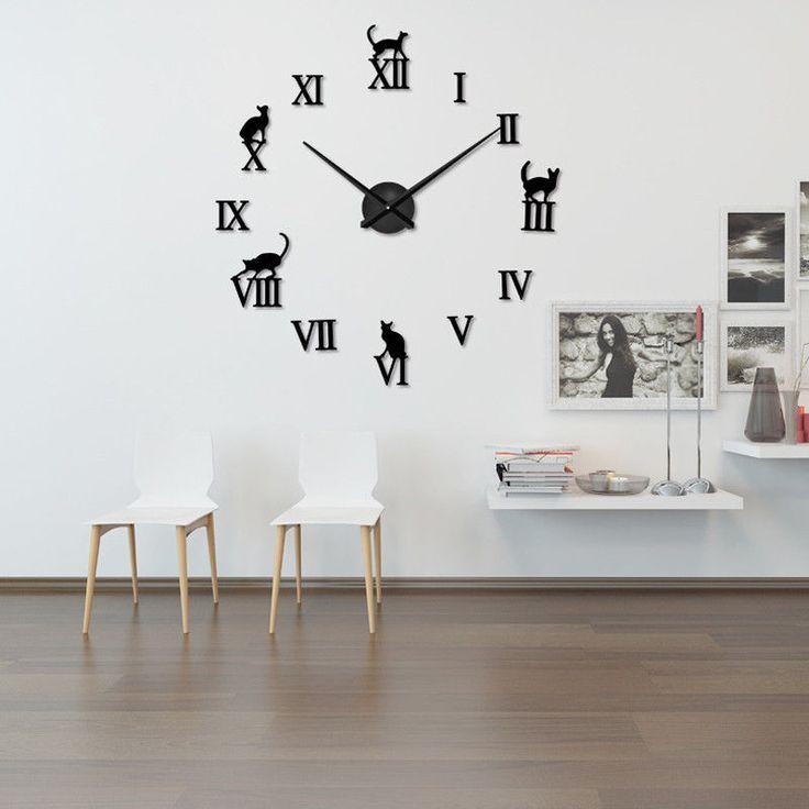 Large Diy Wall Roman Numerals Novelty Clock Mirror Simple Bedroom Home Decor