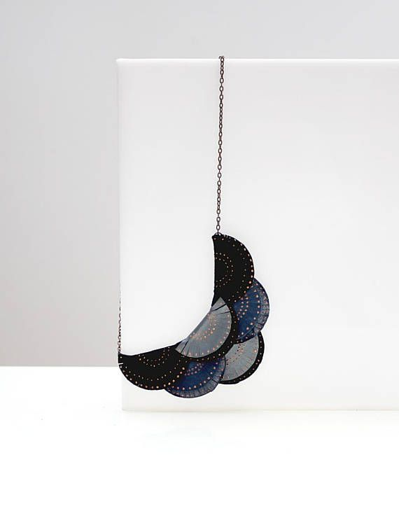 Leather Necklace Leather Fringes Silver Blue Black Leather