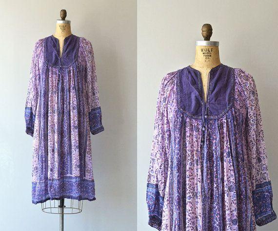 Domba цыганские платья • 70 индийских платье из хлопка • старинные 1970-х годов хиппи фестиваль платье