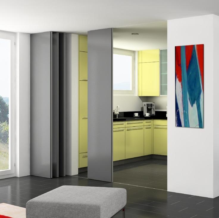 Hawa aperto 60 h tabiques deslizantes y apilables para paneles de cristal o madera hawa ag para - Paneles de madera para paredes interiores ...