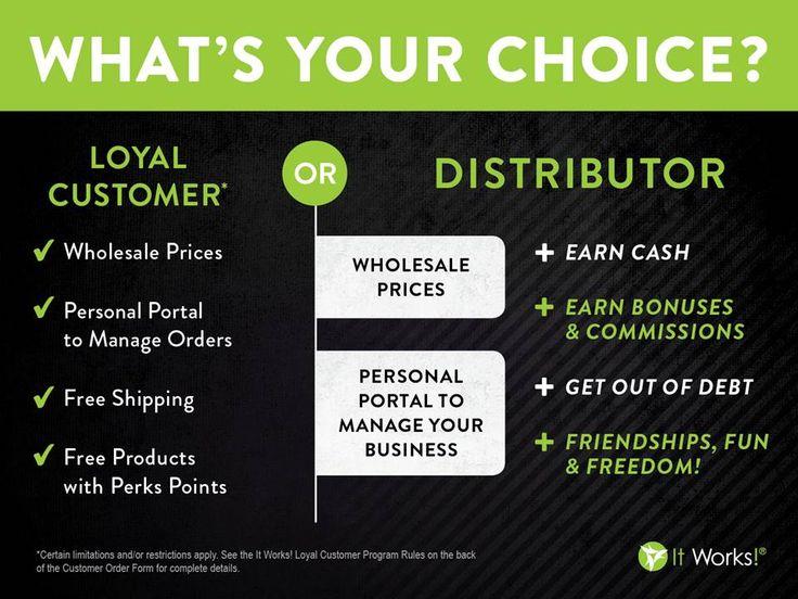 What's your choice? It Works Distributor vs. It Works Loyal Customer? katielandreneau.myitworks.com