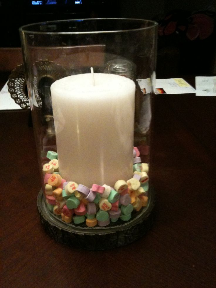candy hearts candle centerpiece