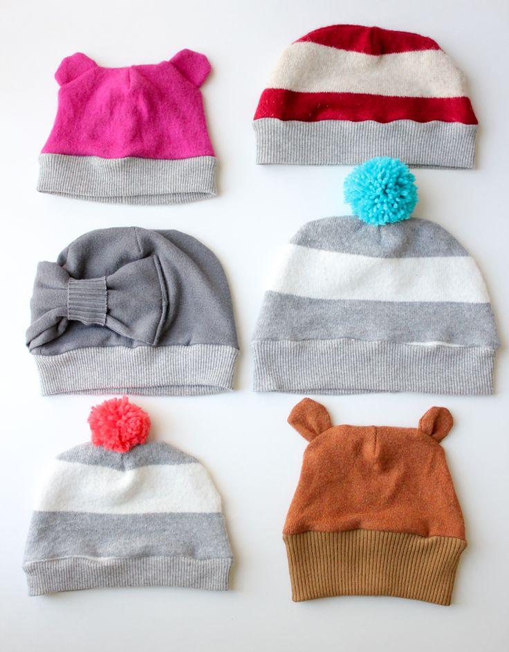 Cucire cappello per bambini da riciclo maglioni - Tutorial e Cartamodello.
