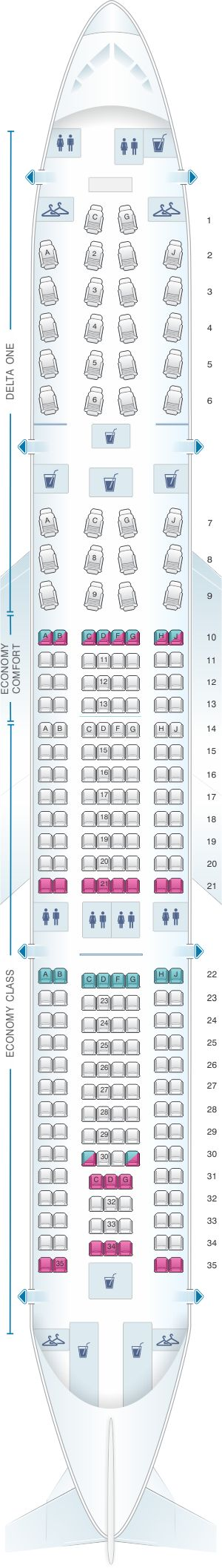 Seat Map Airbus A330 200 (332)