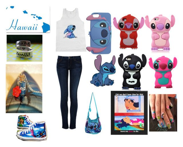 """Lilo and Stitch"" by ashley-raulston ❤ liked on Polyvore featuring Koral, Wet Seal, Disney, Converse and 57"