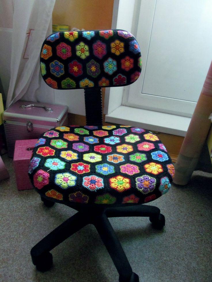 African Flower motif on office chair!!!