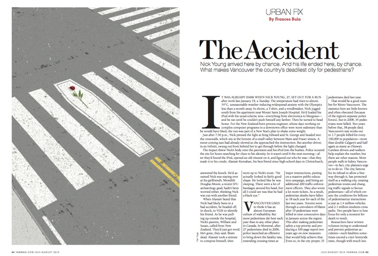 """Silver winner in #Illustrations. """"#Urban Fix: The Accident"""" by Dan Page published in #Vancouver Magazine, 2010."""