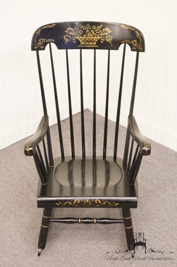 Tell City Black And Gold Hitchcock Style Rocking Chair D650 5 Etsy Rocking Chair Chair Antique Chairs
