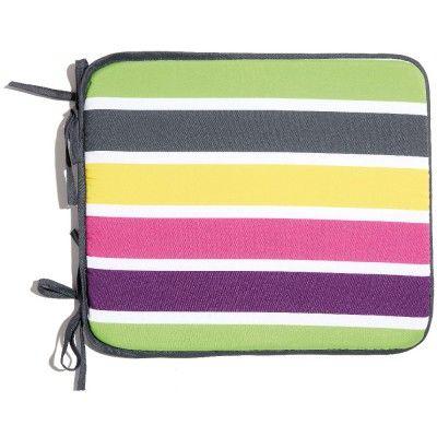 Galette de chaise rayures multicolores x4 - Coussin de chaise / Jeté de canapé - Textile déco - Linge de maison | GiFi