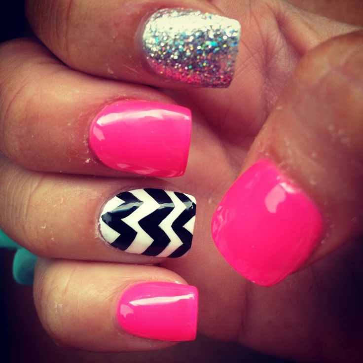 Pink chevron glitter nails   NAILed it.   Pinterest