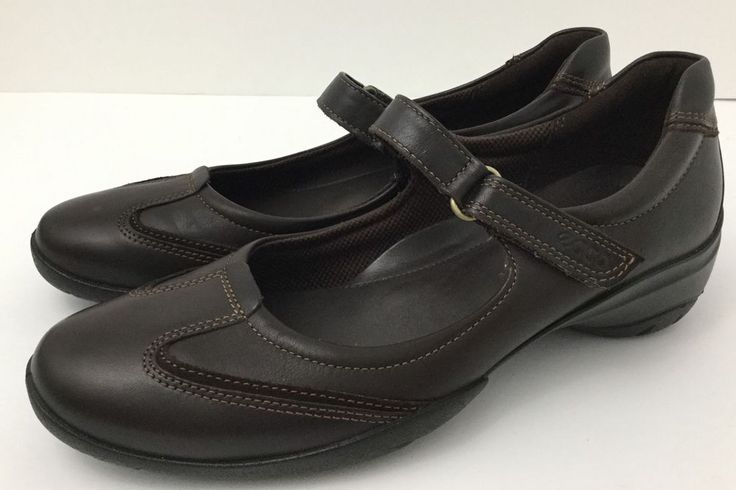 Ecco Women's Mary Jane Shoe Brown Leather EU 37 US 6-6.5 EXCELLENT #ECCO #MaryJanes #Casual