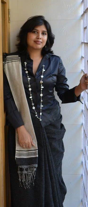 sari with a shirt