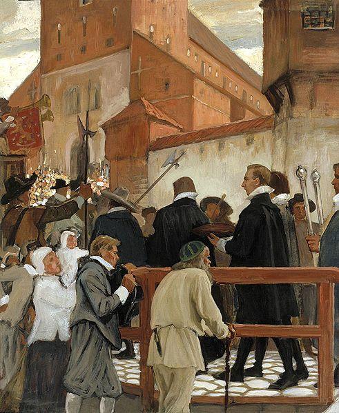 """ALBERT EDELFELT (1854-1905) """"Inauguration of the Academy of Turku, July fifteenth in 1640"""", Part1/3 (1902) - """"Turun akatemian vihkiäiset"""" (osa 1/3) - Uuden yliopiston avajaiset pidettiin 15.7.1640.Maalauksessa yliopiston kulkue noudatt.alkuperäistä kaavaa,jossa jokaisen osallistujan paikka oli tark.määritelty."""