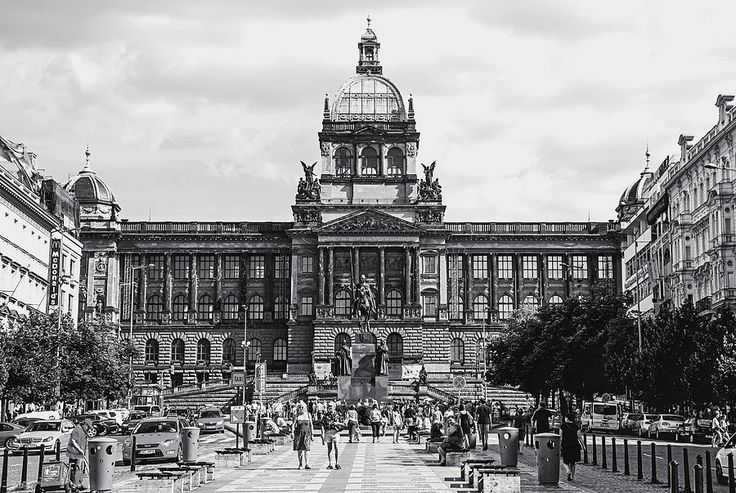 National Museum At Wenceslas Square. Prague by Jenny Rainbow  #JennyRainbowFineArtPhotography  #FramedPrints #WallArt  #Prague #BlackAndWhite #Architecture