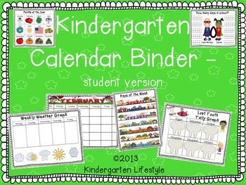Ever want to make your calendar routine more interactive? Calendar binders are a wonderful way to continue this important whole group activity while keeping all student engaged the entire time.This set includes printables to use in student calendar binders.I included a student binder cover page in both color and black and white. 1.