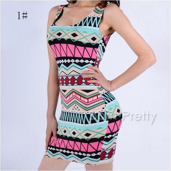 $17.54 Tribal Striped Dress Colorful Sheath Dress - BornPrettyStore.com